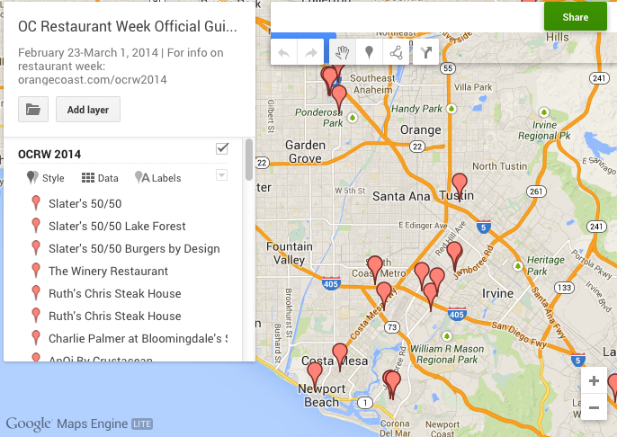 Official Orange County Restaurant Week Guide Map