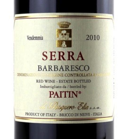 Must-Try Wine of the Week: Paitin Barbaresco Serra 2010, Italy, Piedmont, Langhe, Barbaresco