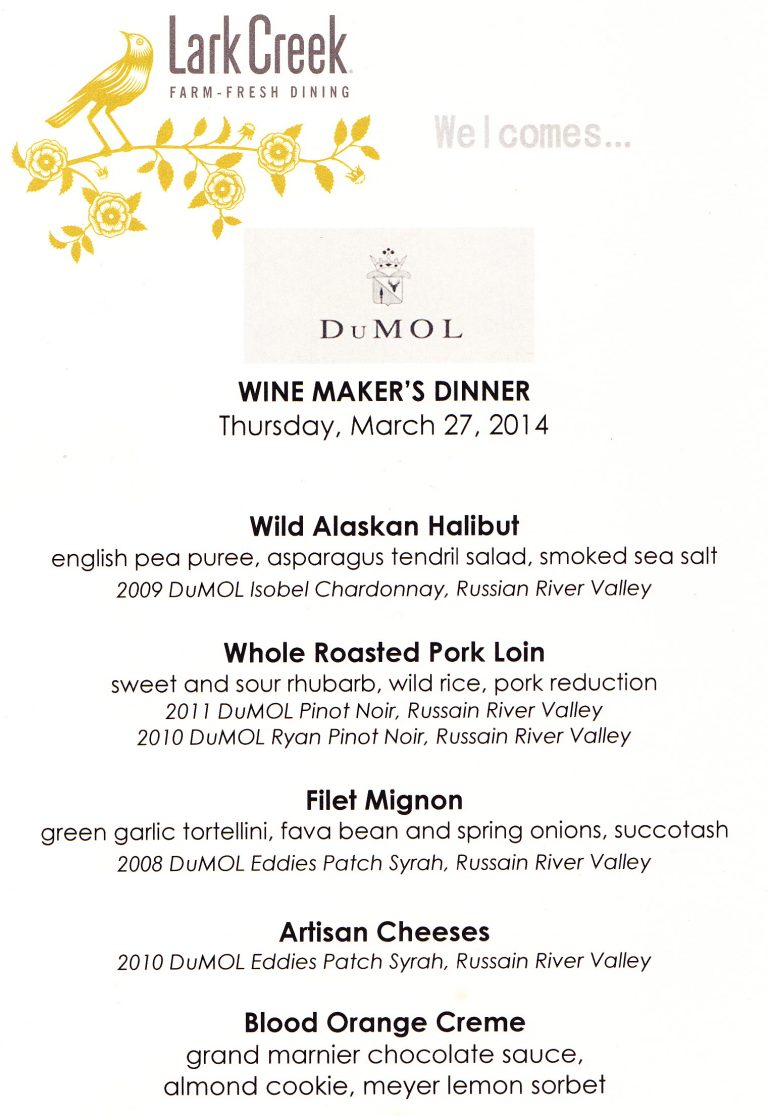 Inaugural Lark Creek Winemaker Dinner a Triumph