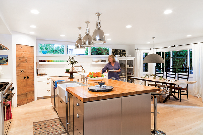 ... Remodeled Kitchen, Where A Row Of Clerestory Windows Floods The Space  With Sunlight, And A Trio Of Industrial Looking Lights From Bliss Home U0026  Design In ...