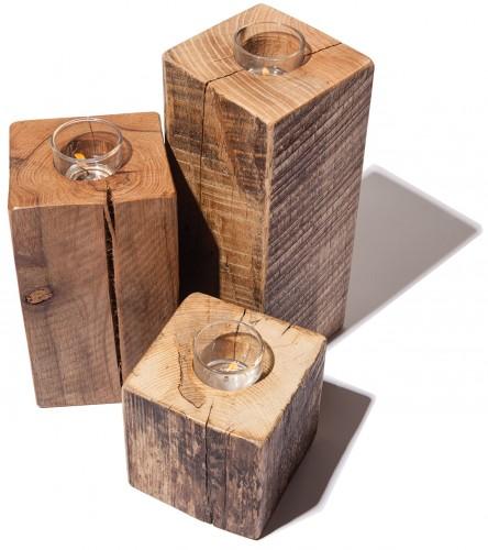 Joe D'Ambra's reclaimed oak candle-sticks, $22 to $30.