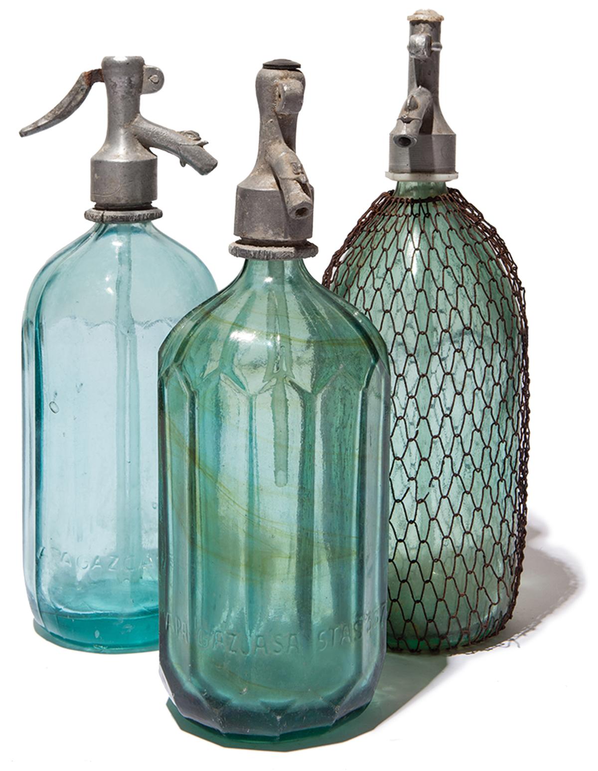 Vintage seltzer bottles from Europe, $55
