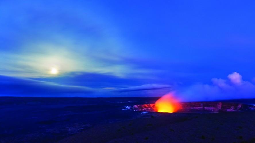Halemaumau Crater at Hawaii Volcanoes National Park - full moon.