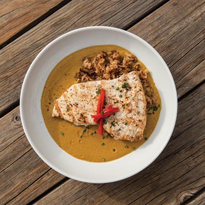 Swordfish in coconut curry.