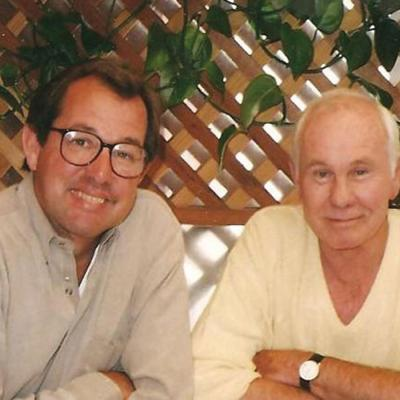 Sotzing and Carson at lunch in Santa Monica in the mid-1990s.