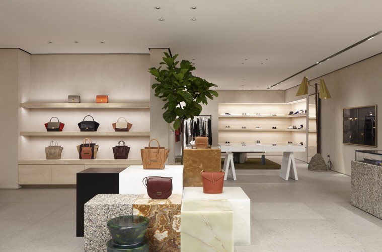 The Céline boutique at South Coast Plaza features furniture and accents designed by Danish artist Fos.