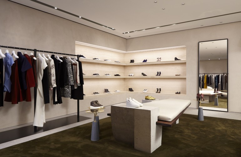 Apparel section of the new Céline boutique at South Coast Plaza
