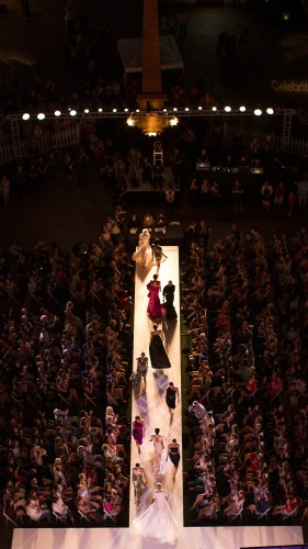 Aerial view of models walking in Style Week OC 2014 at Fashion Island