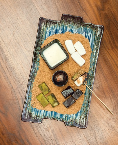 """Zen S'mores, a deconstructed dessert with  its own """"campfire""""."""