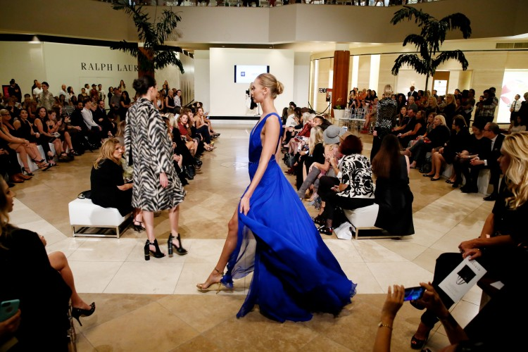 A bright blue gown by Roberto Cavalli at the Live the Look fashion show at South Coast Plaza on October 8, 2015, in Costa Mesa, California.  (Photo by Ryan Miller/Capture Imaging)