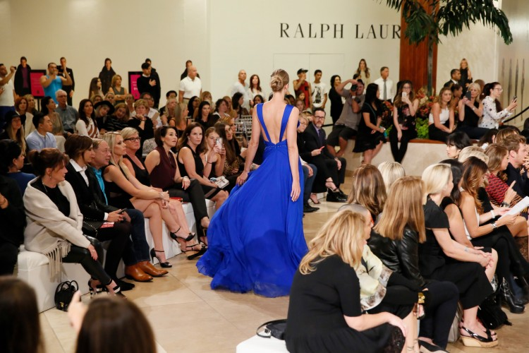 A stunning blue gown by Roberto Cavalli was a crowd favorite at the Live the Look fashion show at South Coast Plaza on October 8, 2015, in Costa Mesa, California.  (Photo by Ryan Miller/Capture Imaging)