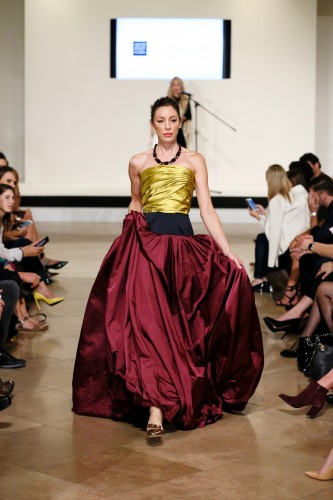 Oscar de La Renta's citron and bordeaux ball gown stunned the crowd at the Live the Look fashion show at South Coast Plaza on October 8, 2015, in Costa Mesa, California.  (Photo by Ryan Miller/Capture Imaging)