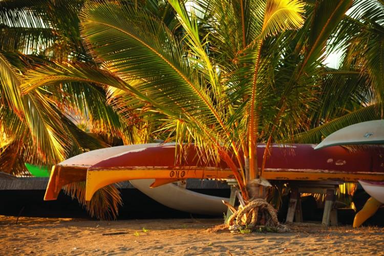 A wooden canoe at rest in Kaunakakai, the main town on Moloka'i. Photo Credit Hawaii Tourism AuthorityDana Edmunds