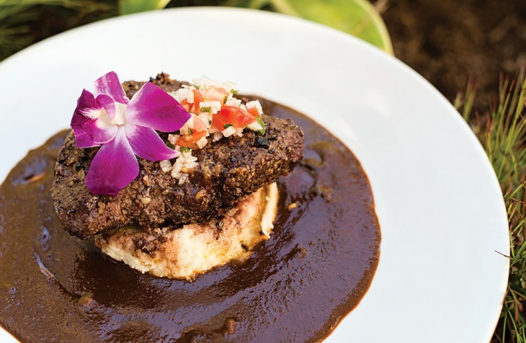 pistachio-crusted steak mole with jalapeno whipped potatoes