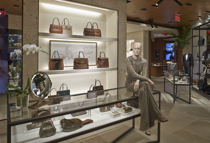 The accessories shelves and jewelry cases of the Ralph Lauren boutique at South Coast Plaza