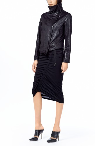 "8telier's funnel necked jacket, $468 and ""Collette"" skirt, $226."