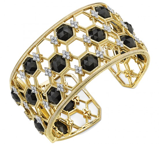 Onyx and diamond cuff