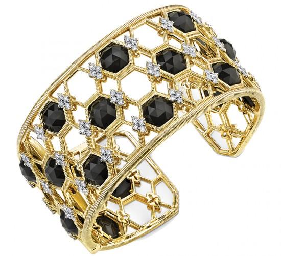 Onyx and diamond cuff