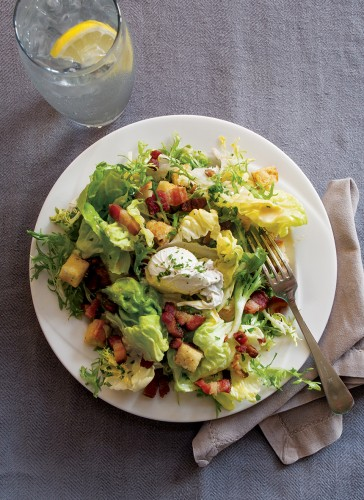 Lyonnaise salad with smoked bacon and poached egg.