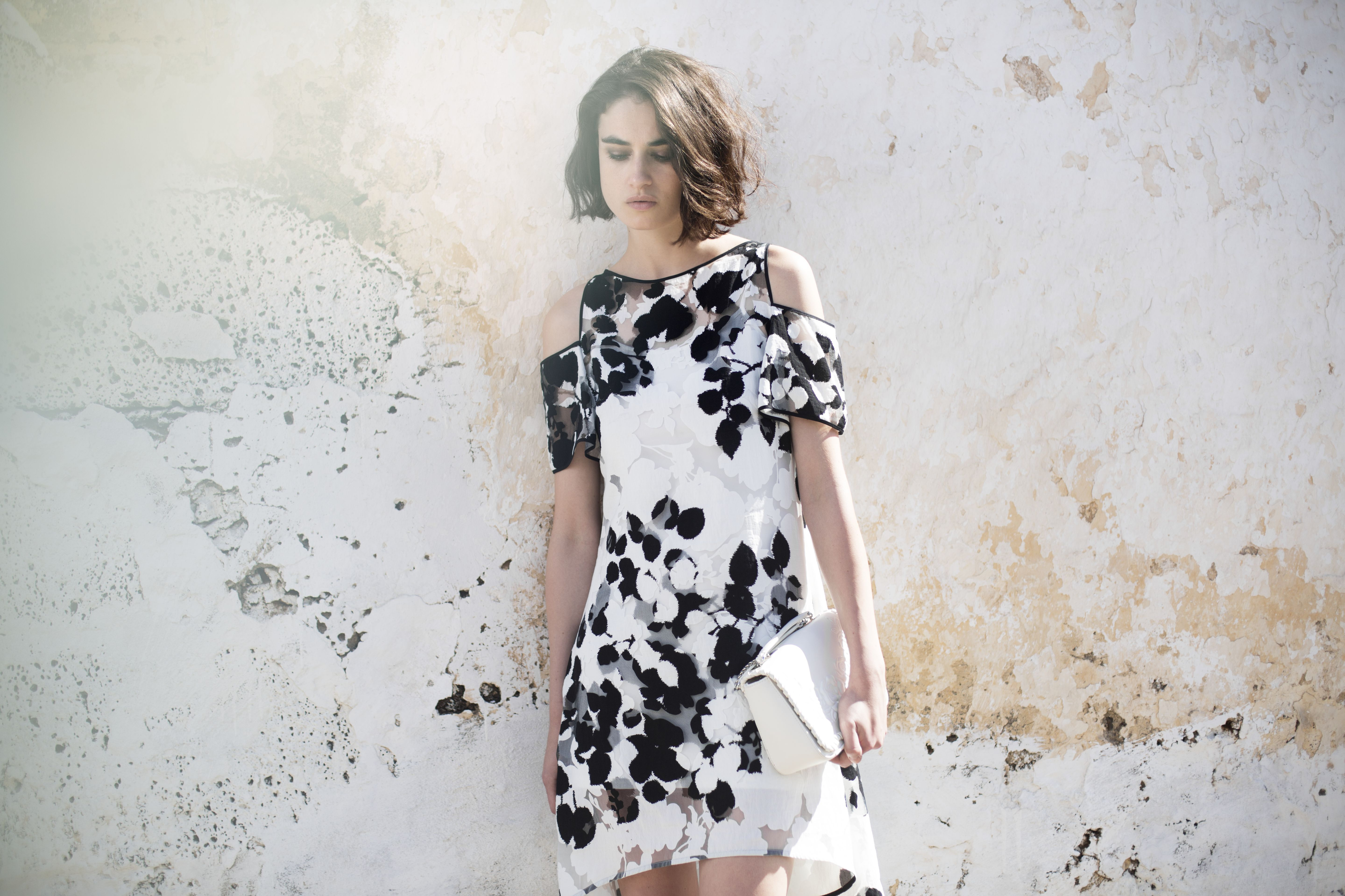 Black and white floral dress with cut out shoulders by Anne Fontaine