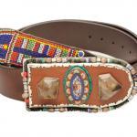 Diana Garreau Maasai Belt, handmade with silver details, mosaic, and vintage earring, price on request, dianagarreau.com