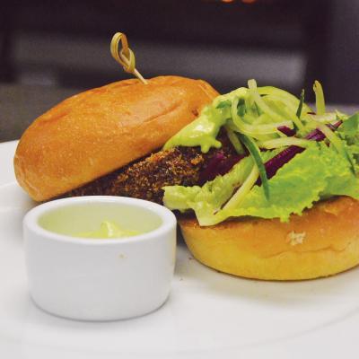 A burger at Hilo Bay Cafe.