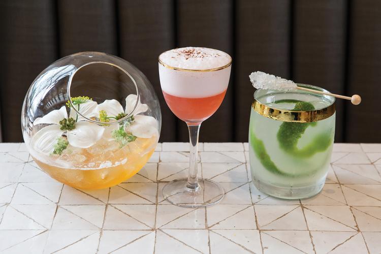 The smoked gin and tonic, Hotline Sling, and house caipirinha