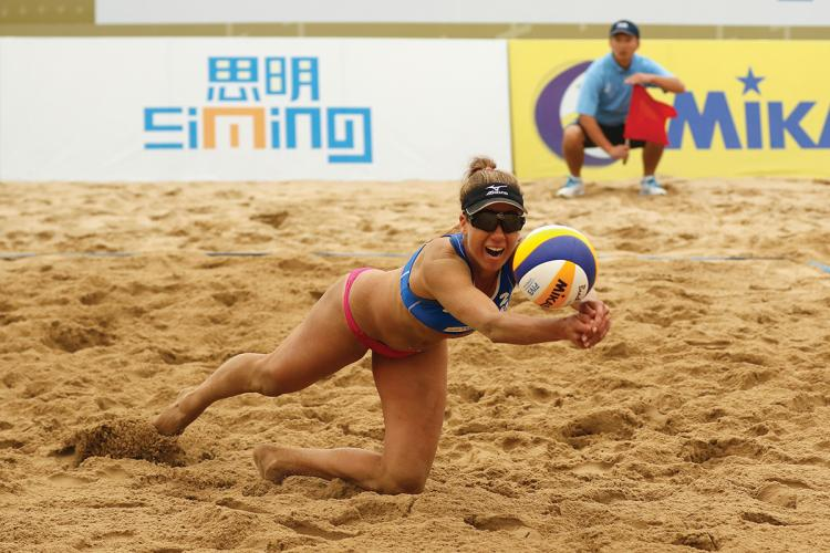 XIAMEN, FUJIAN - APRIL 17: April Ross of USA in action at the FIVB Beach Volleyball World Tour Xiamen Open 2016 on April 17, 2016 in Xiamen, China. (Photo by Kevin Lee/Getty Images)