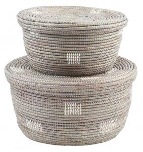 Oval-Nesting-Baskets---Silver-with-White-Dot-_The-Little-Market