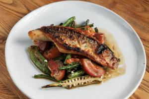 Grilled catfish and roasted vegetables