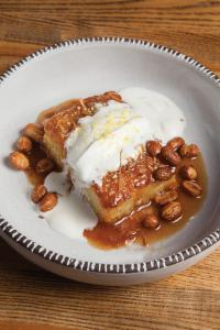 bibingka (coconut rice cake) with candied peanuts and caramel;