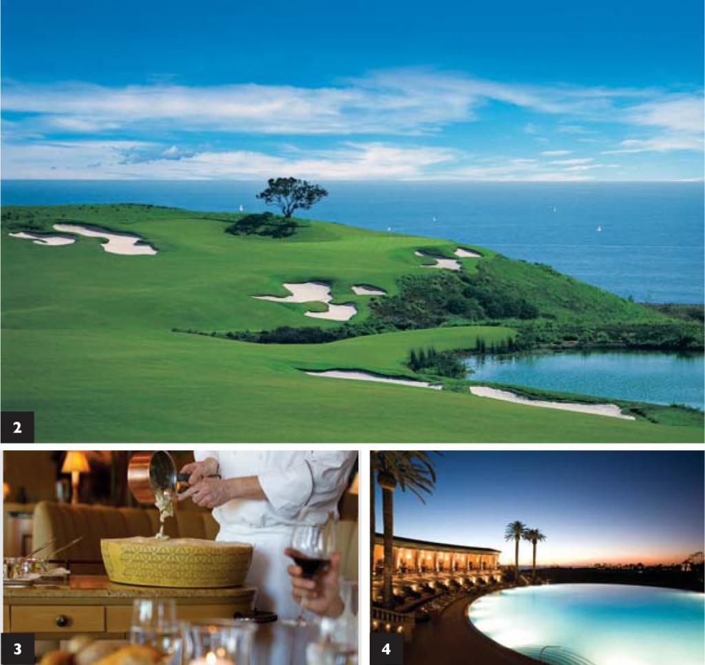 Top/ A view of the Pelican Hill grounds seemingly a world away from LA. 2/ A view from the 17th hole of the Ocean North course. 3/ Tableside risotto wheel at Andrea's. 4/ The largest round swimming pool in the U.S.