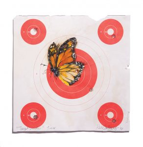 """""""Target Practice"""" (2016), oil on paper, bullet holes made with a 9 mm handgun, 9 by 9 inches. Contact Sabine-Wolf at thepaintedwall@sbcglobal.net for more information."""
