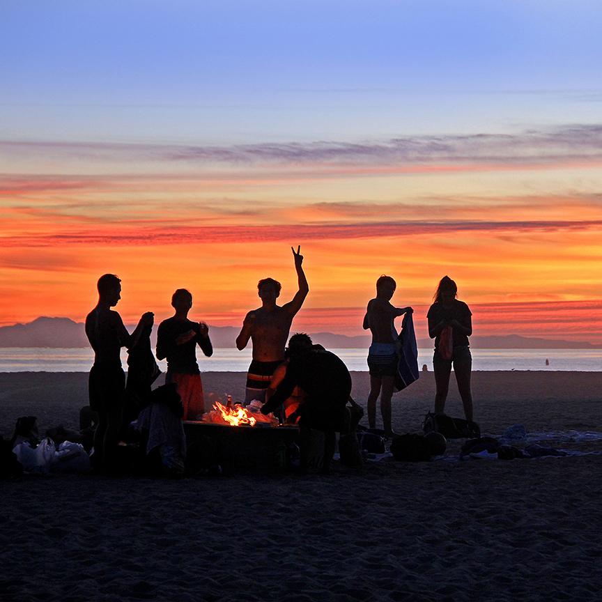 Summer Bonfire at Huntington State Beach