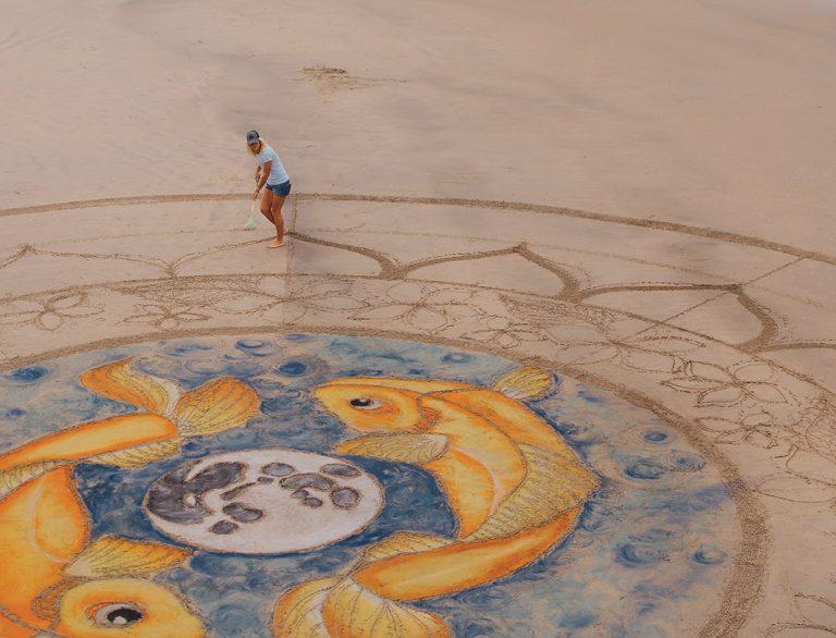 Newport Beach-Based Low Tide Aliens Create Sprawling Sand Art At O.C. Beaches