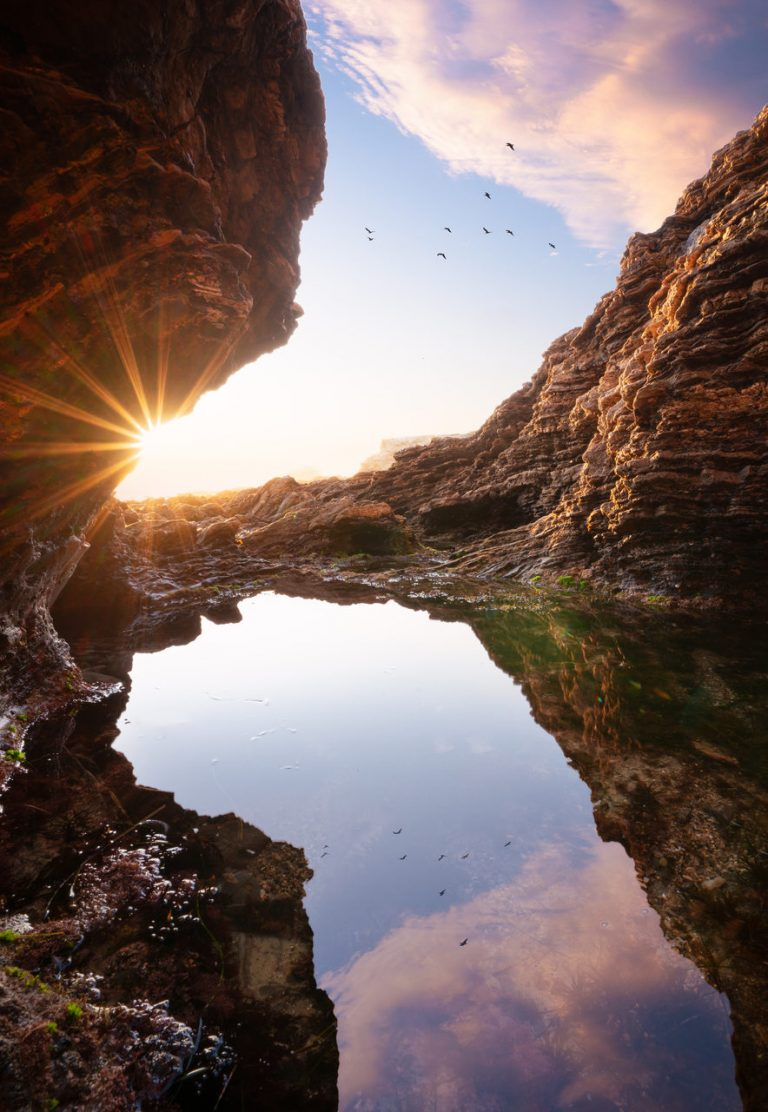 In Plain Sight: Sunset Reflections In a Tide Pool at Little Treasure Cove at Crystal Cove