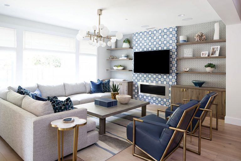 Rooms We Love: Pops of Blue Work for This Aliso Viejo Family Room